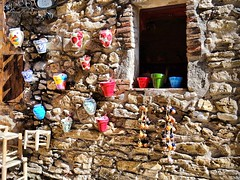 Paralada, the village (Catalunya) (jackfre 2) Tags: catalunya spain peralada village walls shop pots stones colours