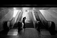 Into the light (Tilemachos Papadopoulos) Tags: qoq recession tube underground urban mono monochrome contrast people athens street dark fuji fujifilm fujinon greece light lines xt10 vanishingpoint bw blackandwhite black mirrorless metro
