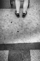 (261/366) Waiting for the Light to Change on the Way to the Market (Hipster Edition) (CarusoPhoto) Tags: street market farmer farmers madison wi wisconsin black white blackandwhite monochrome bw john caruso carusophoto photo day project 365 366 hipster shoes concrete sidewalk cart shopping shop iphone 6 plus