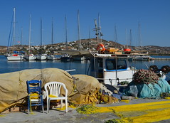 Lunchbreak (blue foot) Tags: blue holiday water boats fishing harbour greece nets masts paros bej the4elements