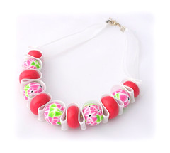 Cherry Blossom Polymer Clay Ribbon Necklace (Lottie Of London) Tags: jewellery polymerclay handmadenecklace lottieoflondon
