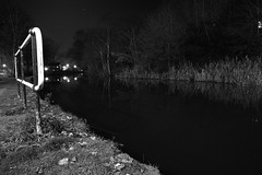 Canal At Night, Brownhills 01/12/2012 (Gary S. Crutchley) Tags: uk england urban bw white black west monochrome town canal nikon branch britain cut lock united country great bcn kingdom junction and nikkor townscape inland staffordshire navigation westmidlands narrowboat vr waterway afs walsall midlands anglesey blackcountry ifed 24120mm f3556 essington wyrley d700 walsallweb