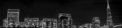 portman skyline panorama (pbo31) Tags: sanfrancisco california christmas city urban blackandwhite bw panorama black skyline architecture night nikon holidays december large panoramic structure christmaslights financialdistrict embarcadero transamerica stitched 2012 portman holidayseason embarcaderocenter d700