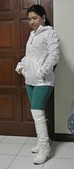 White Patent OTK Boots (johnerly03) Tags: white fashion hair asian high long boots philippines jacket hoody heels filipina nylon patent erly otk