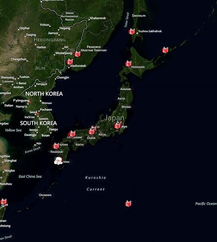 サンタさん日本列島通過記念写真。下の方の通過点は硫黄島だそうです。