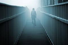 Cycling home........ (Digital Diary........) Tags: bridge mist fog cycling mood cyclist toned runcorn