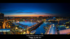 Darling-Harbour-Panoramic (Kiall Frost) Tags: city bridge blue sunset red sky panorama orange water night marina lights nikon warf nightscape sydney australia panoramic nsw darlingharbour monorail cocklebay cartrails d7000 kiallfrost