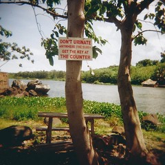 Don't urinate (sonofwalrus) Tags: africa tree film water sign warning river table holga lomo lomography fine scan nile uganda jinja rivernile hpc5380
