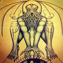 Cthulhu - working in progress (annatomix) Tags: art monster illustration ink wings artist squid cthulhu lovecraft octopus nightmare allseeingeye uploaded:by=flickrmobile flickriosapp:filter=nofilter annatomix