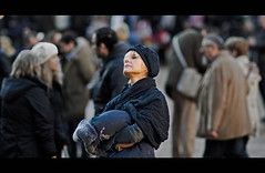 """A woman among the people"" (pigianca) Tags: portrait people italy italia gente streetphoto siena cinematic ritratto piazzadelcampo candidportrait 135mmf2dc d7000"