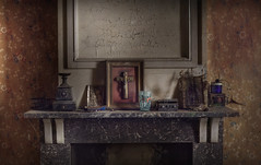 Belongings (andre govia.) Tags: boy wallpaper abandoned cup glass strange buildings junk fireplace play thomas room funky best urbanexploration frame funk left crusty edison decayed wog taboo golly urbex a andregovia fogottenbuildings rottingbuildings
