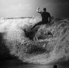 Power Surfing (McSnowHammer) Tags: bw france ir la power wave hossegor surfing spray infrared pro strong splash 2012 quiksilver graviere