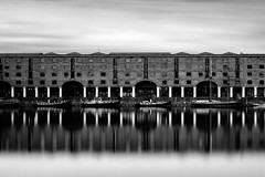 Albert Dock (Liverpool) (Anthony Owen-Jones) Tags: uk longexposure blackandwhite bw black art water monochrome architecture liverpool canon eos rebel mono photo kiss europe long artistic unitedkingdom fineart picture filter photograph le nd bnw albertdock t3i x5 600d takenwith 10stop rebelt3i kissx5 anthonyowenjonescom