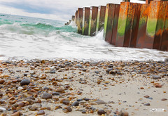Alum bay, Isle of Wight UK (photosbyrabi) Tags: uk summer london beach water pier sand outdoor rusty wave pebbles isleofwight needles englishchannel theneedles alumbay liftchair sunner2016 peddlesbeach