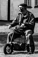 Another casualty of war.... (Sue_Shaw) Tags: war ww2 1940s acting monochrome blackandwhite transport cycle bike injury soldier army uniform canon canon80d canoneos 24105 woodhall spa woodhallspa