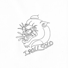 a single line drawing of a panther head stating he doesnt need a gang cause he rolls solo (Chad Coombs) Tags: cchadcoombs single line oneline oneliner tattoo traditional knife rose panther head scream roll solo heart flower get it topless pantless over site purchase limited edition artist series items now eat pizza later