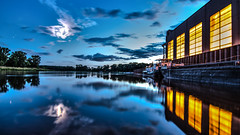 on the docks (bocero1977) Tags: night nature water outdoor moody moon light shore trees blue ship boat moonlight river summer longexposure reflection colors green steel sky harbour clouds