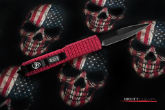 Microtech Ultratech Bayonet - MonkeyEdge Edition (Fly to Water) Tags: microtech ultratech bayonet red crimson switchblade switch blade automatic otf out the front tactical fighting combat knife edge edged weapon dlc monkeyedge skull skulls american flag america skarhanks professional product photography frag pattern edc every day carry