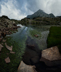 Green stream (emil.rashkovski) Tags: mountain mount green lake water peak grass sky clouds rocks nature outdoor bulgaria rashkovski stream flow