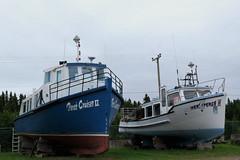 Fishing boats in the shipyard of Newport, Qubec (Ullysses) Tags: newport qubec canada gaspesie summer t fishingboat fishingvessel chandler shipyard boatyard perccruiserii rocherpercii