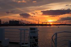 Leaving harbour (paul indigo) Tags: belgium humber paulindigo architecture clouds cranes deck estuary ferry harbour sky sunset