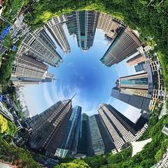 Good night #tinyPlanet #shanghai #lujiazui #onlyphone #iphonegraphy #phoneonly #上海 #陆家嘴 (Lawrence Wang 王治钧) Tags: good night tinyplanet shanghai lujiazui onlyphone iphonegraphy phoneonly 上海 陆家嘴