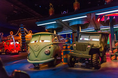 Welcome to Radiator Springs (Jared Beaney) Tags: disney disneythemeparks themeparks disneylandresort disneylandcalifornia disneylandanaheim disneycaliforniaadventure carsland radiatorsprings radiatorracers darkridephotography darkride
