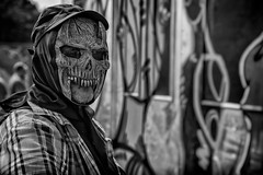 street portrait of a masked graffiti artist (Daz Smith) Tags: dazsmith canon6d bw blackwhite blackandwhite bath city streetphotography people candid canon portrait citylife thecity urban streets uk monochrome blancoynegro mask masked skull graffiti art artist spray mural paint upfest 2016 bristol anonymous