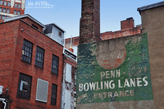 Bowling Ghost (Hi-Fi Fotos) Tags: penn bowling lanes entrance ghost sign brick building old age wear worn history downtown pittsburgh pennsylvania alley faded peeling paint urban grit city nikon d5000 hififotos hallewell
