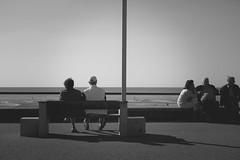 Les amoureux du bord de mer (Justine_photographie) Tags: people personnes assis banc bord de mer sun sea couple amoureux duo extireur monochrome noir et blanc nb black white