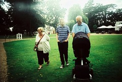 with the grandfolks (golfpunkgirl) Tags: park family summer baby film ava lomo xpro lomography crossprocessed walk 5months chrome grandparents lcwide