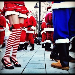 Legs 11. Santacon NYC (Graceiee B) Tags: street people urban woman ny newyork love beach girl fashion kid interesting candid citylife adorable streetphotography l streetshot iphone nyplaces placetovisit iphonography iphone4s