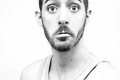 (Damien Cox) Tags: uk gay portrait blackandwhite bw selfportrait man male me self ego myself beard mono eyes nikon masculine moi homo lip homosexual vest grayscale queer scruff stubble sillyface quiver sadface i damiencox dcoxphotographycom