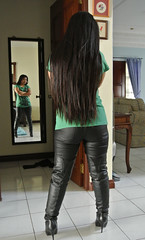 Messy Hair (johnerly03) Tags: fashion hair asian long boots philippines thigh heels filipina erly