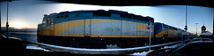 A Via Rail EMD F40PH locomotive at Fallowfield Station, Ottawa. (Autostitch) (Steve Brandon) Tags: christmas railroad winter autostitch snow ontario canada station geotagged gm diesel hiver ottawa railway trains locomotive viarail neige nepean nol    lrc barrhaven fallowfield bombardier  carriages generalmotors         f40ph 6451 bombardierlrc  emdf40ph f40ph2 generalmotorsdieself40ph2     via