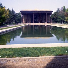 Chehel Sotoun in Isfahan. A pavilion at the far end of a long pool in the middle of a classic Persian Garden. Built by Shah Abbas II in 1647 to be used for entertainment and receptions.