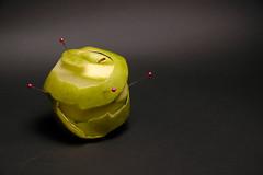 Reconstructed apple (fishbowl_fish) Tags: shadow black green apple pins grannysmith peeled pinned