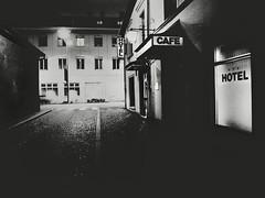Bates Motel (Yves Roy) Tags: street city shadow urban blackandwhite bw black contrast dark austria blackwhite feldkirch interestingness interesting raw moody darkness noiretblanc 28mm snap fav20 gloom fav30 yr enigmatic fav10 ricohgrd grdiii bureboke yvesroy yrphotography
