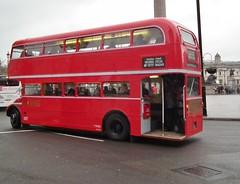 RML2389 (kenjonbro) Tags: uk london westminster cloudy rear trafalgarsquare overcast 1966 routemaster raining charingcross sw1 backendofabus weddingspecial timebus kenjonbro rml2389 fujifilmfinepixhs10 jjd389d routemasterlong