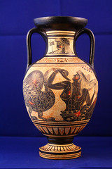 Day 338 - Greek amphora (Ben936) Tags: painting ceramic greek design ancient amphora jar pottery historical mythology earthenware twohandled patternblackyellowandred
