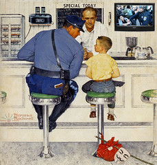 Anonymous Now (AK Rockefeller) Tags: collage funny cops propaganda politics protest police diner government americana anonymous normanrockwell policeman occupy itsarts akrockefeller