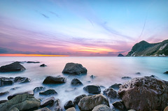 Sunset at Ihama Rocky Beach [Explore] (-TommyTsutsui- [nextBlessing]) Tags: longexposure blue winter light sunset sea sky orange seascape beach nature rock japan landscape coast nikon purple magic tide 4 scenic explore shore       izu 410  minamiizu sigma1020  onsalegettyimages ihama