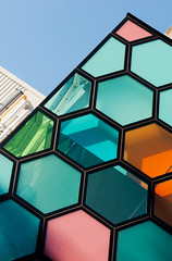 Hexagon (The Green Album) Tags: new school architecture grid mixed university pattern colours contemporary cardiff hexagon extension bold blockbuster biosciences