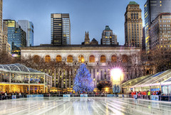 Bryant Park Iceskating rink and tree (Tony Shi.) Tags: park christmas new york city winter tree ice public st season library skating nypl entertainment rink years bryant  hdr 42nd             42