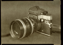A SLR with a mid-range portrait lens, just it's 2:1 scale (O9k) Tags: camera stilllife film analog studio papernegative 4x5 28 largeformat 9x12 schneider viewcamera cameraporn alternativeprocess pentaconsix sonnar kiev60 russiancamera selfdeveloped carlzeiss 180mm homedeveloping pentacon6 symmar sovietcamera kiev6c sinarp zeissjena directpapershot wineol