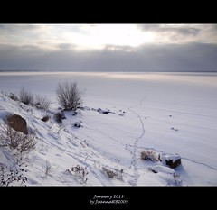 January 2013 (JoannaRB2009) Tags: blue winter sky sun white lake snow nature clouds river landscape poland polska sunny warta jeziorsko