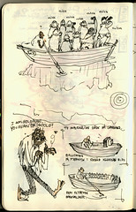 Sketchbook page from Varanasi (S.SBHR) Tags: india white man moleskine illustration boats gold sketch style row tourists dirty cameras illegal varanasi visitors selling invasion indien invading loose rajastan blakc