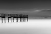 Candlestick Point Pier (kaddisudhi) Tags: ocean wood longexposure blackandwhite bw seascape water clouds pier frozen movement seascapes bayarea sanfracisco stillness candlestick candlestickpark kaddi singhray varinduo kaddisudhi kaddisudhicom