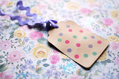 polka dog gift tags (patchworkharmony) Tags: hello pink green floral diy words purple handmade crafts postcard gift spotty ribbon greeting polkadot dotty speechbubble mintgreen ricrac luggagetag