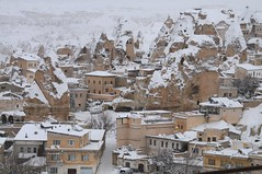View of Goreme from my hotel's rooftop terrace (joyful JOY) Tags: winter snow turkey caves cappadocia winterwonderland goreme nevsehir fairychimneys